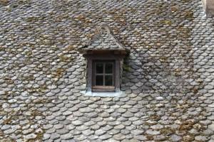Typická střešní krytina v Conques, břidlicové bobrovky / OM